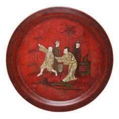 Antique chinoiserie papier mache platter, c.1830