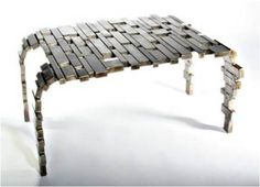 Coffee table from recycled steel