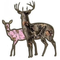 Buck and a doe Applique machine hunting embroidery digitized Applique design pattern - Instant Download -4x4 , 5x7, and 6x10 hoops