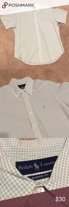 Ralph Lauren short sleeve shirt. Ralph Lauren summer favorite - Classic Fit green and white check button down short sleeve shirt. Men's Large. Lightly worn, in excellent condition Polo by Ralph Lauren Shirts Casual Button Down Shirts