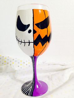 Jack Two Face Inspired Hand Painted Wine Glass. by AWhimsicalHoot