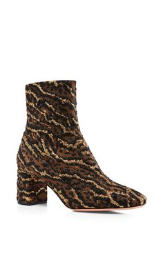 Rocchetta Leopard Brocade Ankle Boots by ROCHAS Now Available on Moda Operandi