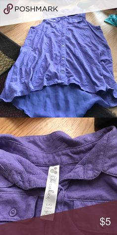 Cherokee girls shirt Size large 10/12 like new condition Cherokee purple high low shirt. Longer in the back. Super cute Cherokee Shirts & Tops Tank Tops