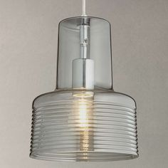 BuyJohn Lewis Damon Ribbed Glass Pendant Light, Smoke Online at johnlewis.com