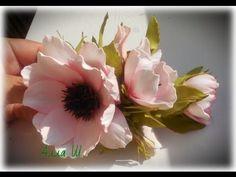 МК Заколка с цветами из фоамирана.