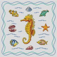 Cross-Stitch Seahorse - Cross Stitchers Club Cross Stitch Sea, Cross Stitch Bookmarks, Cross Stitch Needles, Cute Cross Stitch, Cross Stitch Cards, Beaded Cross Stitch, Cross Stitch Samplers, Cross Stitch Animals, Cross Stitch Designs