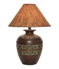 Desert Collection Lamp 023W Western Lamps - From our Made in the USA Desert Collection. Native American inspired design with dark finish and contrasting color bands.