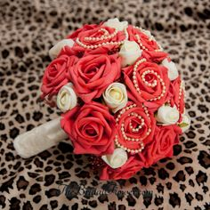Cream and guava red bridal bouquet with ivory rose buds and ivory pearls by TheBridalFlower
