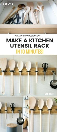 Organise your Kitchen cooking essentials with this super easy DIY Utensil Rack tutorial. You can make it in under 10 minutes!  | kitchen decor | | kitchen decorating ideas | | kitchen decor ideas |  https://steeltablelegs.com