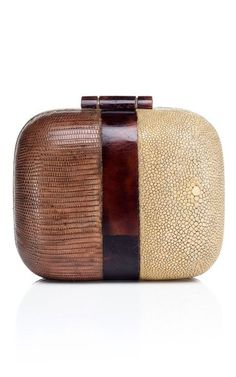 Shop Two Tone Box Clutch. This petite, rounded box clutch features one embossed lizard panel and one cream shagreen panel Turnlock closure Velvet lined interior features a designer logo embossed gold plaque Shagreen, lizard Made in the My Bags, Purses And Bags, Little Bag, Brown Fashion, Beautiful Bags, Clutch Purse, Evening Bags, Fashion Bags, Leather Bag