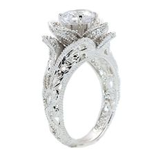 Hand Carved Vintage Inspired Blooming Rose Flower CZ Cubic Zirconia Engagement Ring Size 5 *** Read more at the image link.