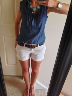Casual Look for Summer! chambray, whiteshorts, Premier Designs Boho Chic