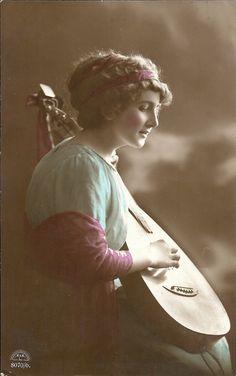 Musical lady, Edwardian beauty, lute player, blue pink, romantic photo, hand tinted, pretty lady photo, folk music  (rppc/gl132)