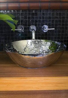"""One of our creative customers transformed our 19"""" Luna Bowl into a new bathroom sink! Talk about creative!  www.maryjurekdesigninc.com"""