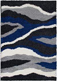 Masada Rugs Multi Color Modern Contemporary Collection Soft Shag Area Rug 5 Feet X 7 Feet Waves Anthracite Review Shag Area Rug Gray Shag Area Rug Area Rugs