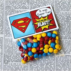 Favor Tag 5 wide fold over. by PinkadotShop Happy Birthday B, Superman Birthday Party, 4th Birthday Parties, Boy Birthday, Superman Party Favors, Birthday Ideas, Anniversaire Wonder Woman, Baby Superhero, Superhero Baby Shower Favors