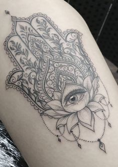Beautiful looking and with a rich symbolism behind, lotus tattoos are absolutely gorgeous. Here you'll find everything you need to know about a lotus tattoo and some awesome imagery for inspiration. Hindu Tattoos, Buddha Tattoos, Symbol Tattoos, Leg Tattoos, Body Art Tattoos, Tatoos, Fatima Hand Tattoo, Mandala Hand Tattoos, Lotus Mandala Tattoo