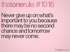 Never give up on what's important to you because there may be no second chance and tomorrow may never come.
