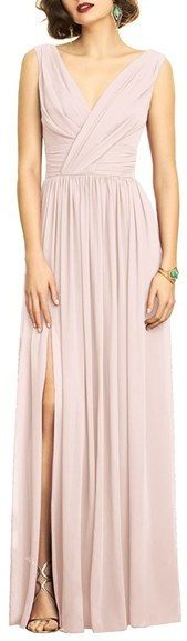 Women's Dessy Collection Surplice Ruched Chiffon Gown