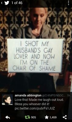SHERLOCK (BBC) ~ Season 3, Episode 3: His Last Vow. Hilarious tweet with photo about John Watson's wife Mary shooting Sherlock, and the tweet response from Amanda Abbington, who plays Mary.