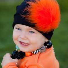 Black Cat Hat with Orange Feather Poof Baby Girl Hat #Melondipity