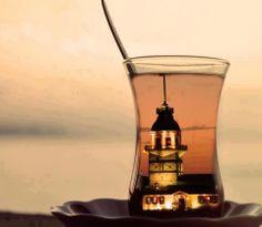 Turkish Tea and Istanbul Turkish Delight, Turkish Coffee, Chai, Turkish Recipes, Wonderful Places, Beautiful Places, Tea Time, Tower, Glass