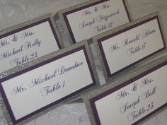 Silver & Purple Glitter Tented Place Cards by WeddingSparkles, $1.75