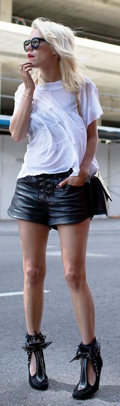 Mademoiselle Clothing Black Women's Front Lace Up Croc Leather Shorts