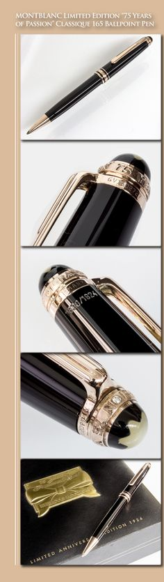 "MONTBLANC Limited Edition ""75 Years of Passion"" Classique 164 Ballpoint Pen (resin body, rose gold-plated trim, mother-of-pearl, diamond) - 1999 / Germany"