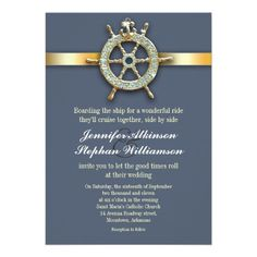 nautical blue golden wedding invitations Nautical wedding invitation with blue design and golden ribbon anchor with a boat wheel.
