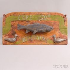 Carved and Painted Cape Cod Welcome Sign - Current price: $300