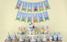 Imprimible gratuito de Peppa Pig y George Pig para fiesta de cumpleaños