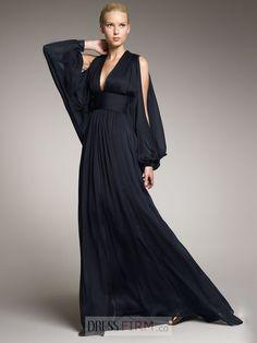 Sexy Column V-neck Long Sleeves Floor-length Chiffon Dresses
