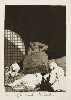 """Francisco de Goya: """"Las rinde el Sueño"""". Serie """"Los caprichos"""" [34]. Etching and aquatint on paper, 214 x 152 mm, 1797-99. Museo Nacional del Prado, Madrid, Spain"""