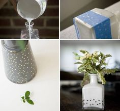 Vases of bottles with their own hands - 29 photos with ideas for creativity Diy Home Decor On A Budget, Diy Home Improvement, Dollar Stores, Glass Vase, Creative, Bottles, Hands, Photos, Table Decorations