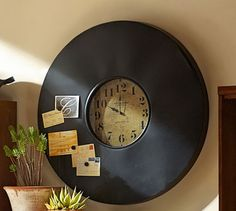 (DIY - Magnetic chalkboards? Magnetize a piece of steel and then cover with chalkboard paint.)  Industrial Chalkboard Wall Clock | Pottery Barn