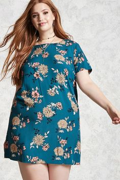 Product Name:Plus Size Floral Satin Dress, Category:plus_size-best-sellers, Price:15.9