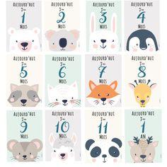 """Les cartes """"mois"""" pour photographier son bébé de la naissance jusqu'a ses un an ! A imprimer gratuitement sur notre blog (fichier PDF) !"""