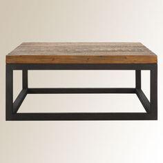Dalton Square Coffee Table   Iron Base & Reclaimed Wood Top.