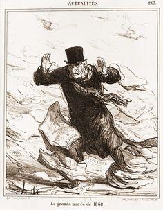 Honoré Daumier La grande marée de 1868 Planche n° 267 de la série Actualités. 1868. Lithographie, 3e état sur 3BnF - Daumier
