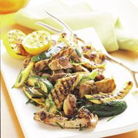 Summer Squash and Chicken -- Simple and healthy. Lemony grilled chicken thighs and squash, with fresh chives and grilled lemon slices.