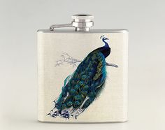 Peacock Liquor Hip Flask Stainless Steel 6 oz FK0397 by Rockyart, $16.99