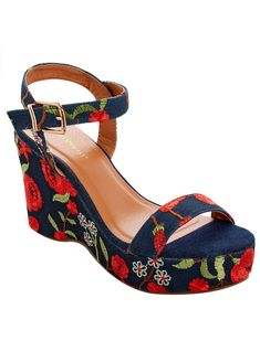 3b3c5b6fa59 Embroidered Platform Sandals - Wide Width