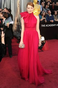 Emma Stone in red, 2012