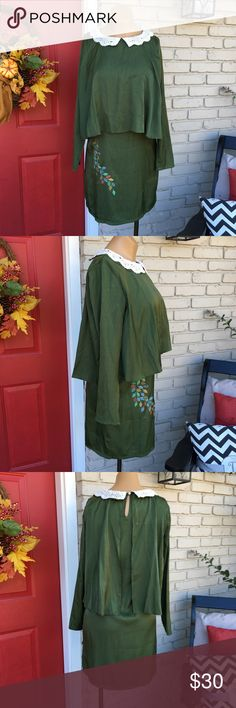Vintage look olive green Peter Pan collar dress Vintage style long sleeve olive green popover dress with crochet Peter Pan collar. Keyhole in back. Leaf print on front right side. Size Medium (appx size 4/6). Great for Fall paired with boots or booties! Purchased at local boutique! Titis Clothing Dresses