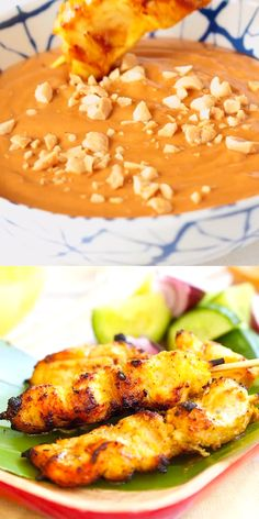 Chicken Satay Chicken satay - grilled chicken skewers marinated with spices and served with peanut sauce. The easiest and best chicken satay recipe ever Grilled Chicken Skewers, Grilled Chicken Recipes, Best Chicken Recipes, Chicken Satay Skewers, Chicken Satay Sauce, Tilapia Recipes, Grilled Fish, Grilled Salmon, Marinated Chicken