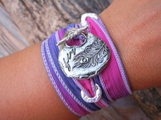 Unique Gift for Her, Cool Jewelry, STERLING Silver Peacock Feather Jewelry, Silk Ribbon Adjustable Wrap Bracelet, Stocking Stuffer