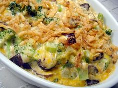 Broccoli & Mushroom Casserole from Food.com: Wonderful vegetarian one-dish meal or could be a side-dish too! Perfect for a winters night. *Healthy Request soup adds 44 calories, 1 gram fat and 1 gram of sugar per serving. Half a can of fried onions adds 61 calories and 4 gram of fat per serving.*