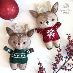Reindeer wearing sweaters with bauble and holly. Crochet written pattern.
