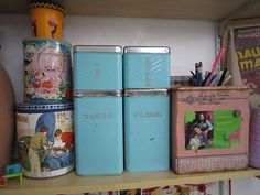 Cute vintage canisters and tins from the 1950's.
